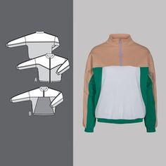 Sweat jacket and sweatshirt Retro Color, Sporty Style, Mantel, Sewing Patterns, Sweatshirts, Dresses, Fashion, Damask, Jackets