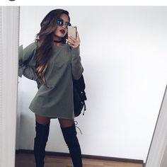 Sweater dress from fall outfit уличная мода, одежда и плать Komplette Outfits, Winter Outfits, Casual Outfits, Fashion Outfits, Fashion Trends, Summer Outfits, School Outfits, Winter Dresses, Fashion Killa