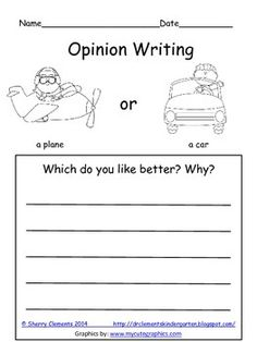 FREEBIE: Opinion Writing: Plane or Car? Which is better? Why?  one page FREEBIE - ENJOY!