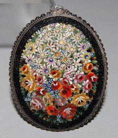 Antique Victorian Italian Micro Mosaic Pendant w/ 800 Silver Frame: