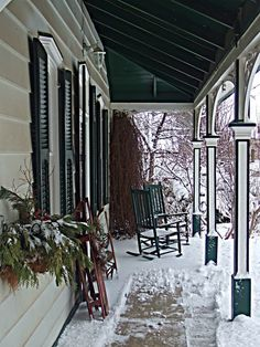 My Home (by bill barber) the porch I Love Snow, I Love Winter, Winter Is Coming, Winter Snow, Winter Porch, Winter Garden, Winter Time, Country Christmas, Christmas Home