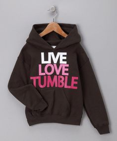 Take a look at this Activewear Apparel Dark Chocolate 'Tumble' Hoodie - Girls by Activewear Apparel on today! Tumbling Gymnastics, Gymnastics Shirts, Gymnastics Quotes, Gymnastics Outfits, Gymnastics Stuff, Gymnastics Room, Gymnastics Birthday, Gymnastics Leotards, Outfits