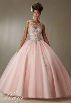 Quinceanera Dress  Vizcaya Morilee 89067 Embroidery and beading on a tulle ball gown  Colors: Blush