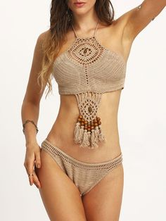 Shop Beaded Tassel Trimmed Crochet Bikini Set - Khaki online. SheIn offers Beaded Tassel Trimmed Crochet Bikini Set - Khaki & more to fit your fashionable needs.                                                                                                                                                     Más