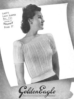 1940's Jumper Lace Knit 2 or 3 Ply 32/34 Vintage