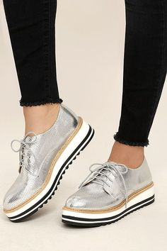bac212ed64e All the cool girls know that the Steve Madden Vassar Silver Platform  Sneakers are where it s