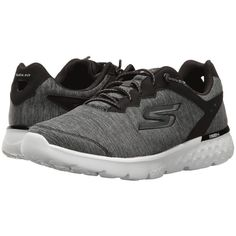 SKECHERS Go Run 400 (Black/White) Women's Running Shoes ($57) ❤ liked on Polyvore featuring shoes, athletic shoes, running shoes, lace up shoes, laced up shoes, light weight running shoes and breathable shoes