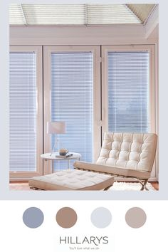 A conservatory is a wonderful place to relax. But if you're overlooked or are plagued by the sun in your eyes, relaxing can be difficult. Venetian blinds are a brilliant solution to both of these common issues. Our Venetian blind collection features an impressive range of shades and designs. For a neat finish at conservatory windows and doors, choose to have your Venetian blinds in a PerfectFit frame. They clip directly into uPVC windows, for a sleek, no-drill option. View more. Upvc Windows, Windows And Doors, Conservatory Design, Pastel Blue, Wonderful Places, Venetian, Modern Contemporary, Blinds, Relax