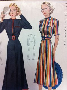 McCall Pattern 1930s candy stripe multicolored blue red yellow dress long day casual art deco influences