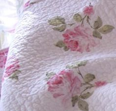 SHABBY PINK CABBAGE ROSES ROMANTIC HOME CHIC COTTAGE THROW QUILT ...