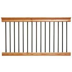 Aluminum Cedar-Tone Southern Yellow Pine Deck Railing - The Home Depot Stair Railing Kits, Deck Railing Systems, Vinyl Railing, Deck Railings, Railing Ideas, Vinyl Deck, Cedar Deck, Deck Posts, Deck Builders