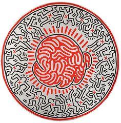 Art - Keith HARING Untitled, 1985 signed and dated on the reverse 'Oct 17 85 k. Haring' oil on canvas, tondo diameter 137 cm. Acquired by a Private Collector K Haring, Keith Allen, Pop Art, James Rosenquist, Keith Haring Art, Arte Pop, Art Plastique, American Artists, Graffiti Art