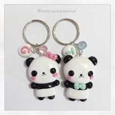 Panda Keychains i made for a commision  they were custom request  #keychains #kawaiicharms #cutecharms #claycharms #claycreations #polymerclay #polymerclaycharms