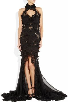 Alexander McQueen Embellished black silk-chiffon and lace gown