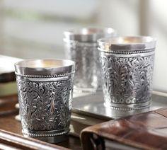 Embossed Silver Votive Holder, Set of 3 | Pottery Barn