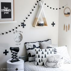 I've had a lot of pink going on in my feed of late - time for some monochrome boy's room inspo to break it up a bit! #whitefoxstyling