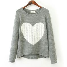 Heart Pattern Irregular Cut Knit Cardigan Sweater|Clothing & Apparel- ByGoods.com