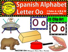 "Letter  O o Spanish Clip Art  Letra Oo Personal and Commercial Use ""MACSTAR Clips   13 images in totalYou will receive: 7 Color Clip Art: As shown in the preview oro, ovni, ostra, oso, olla,  and two letter labels or tiles6 Black and White Clip ArtAll images have high resolution and are in PNG formats so they can easily be layered in your projects and lesson materials.Terms of Use:The clip art may be used in educational commercial products."