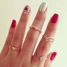 cute nails but I love that bow ring!