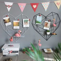 Modern Style Heart Metal Grid Wall Decor Photo Shelf - Lilly is Love Photo Shelf, Picture Shelves, Photo Wall, Metal Storage Racks, Iron Storage, Grade Para Fotos, Metal Grid, Modern Shelving, Hanging Photos