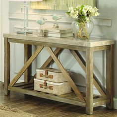 Features:  -Genuine marble top.  -Weathered wood.  -Ridley collection.  Distressed: -Yes.  Top Finish: -White.  Base Finish: -Weathered wood.  Top Material: -Marble/Granite.  Base Material: -Wood. Dim                                                                                                                                                                                 More