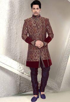 Buy Magenta and Maroon Art Silk Brocade Readymade Sherwani online, work: Embroidered, color: Magenta / Maroon, usage: Party, category: Mens Wear, fabric: Brocade, price: $412.55, item code: MHG89, gender: women, brand: Utsav