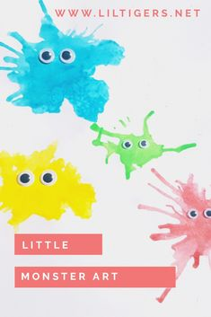 Try this fun art technique to create friendly lil monsters. Click through now and see how it works. #monsterart #artforkids