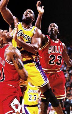 Magic Johnson drives past Michael Jordan Basketball Leagues, Basketball Legends, Basketball Players, Michael Jordan, Mike Jordan, Basketball Pictures, Love And Basketball, Showtime Lakers, National Basketball League