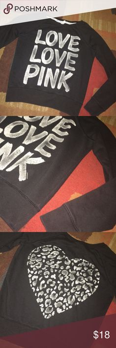 Black LOVE PINK sweatshirt Super cute black and white Love PINK sweatshirt with leopard heart on the back. Good used condition. Size M. PINK Victoria's Secret Tops Sweatshirts & Hoodies