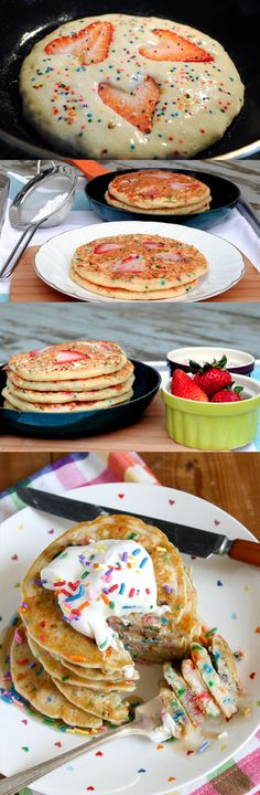 A fun way to make breakfast. This recipe is for buttermilk breakfast pancakes without a mix. Photos show how you can add fruit and whip cream. Sprinkles optional. Want to eat this!!!