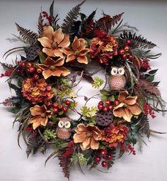 Woodsy Flower Wreath Thanksgiving Autumn Door Wall Decoration Owl All Seasons XL #Handmade
