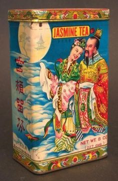 Kwong Sang Jasmine Tea tea tin... artwork of smiling couple in colourful traditional robes, in Chinese and English,c. 2010s, China