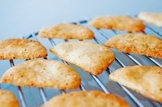 Cheese Thins - I make these with Catamount Hills cheese from Whole Foods and season with Penzey's chili powder. Freeze the cheese for about 45 minutes to make it easy to shred with food processor.