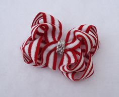 Christmas Hair Bow  Red and Silver Holdiay by LizzyBugsBowtique, $6.25