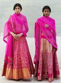 Magenta and Gold Lehengas by Raw Mango