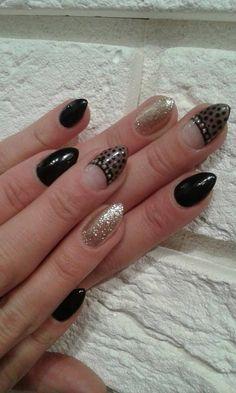 hybrid nails black gold sheer nails
