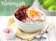 Adobo Flakes with Sinangag and Spicy Eggs
