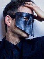 Black Leather Bauta style Masquerade Venetian mask