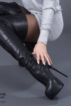 Tight High Boots, Thigh High Boots Heels, Black High Heels, Wedge Boots, High Heel Pumps, Heeled Boots, Stylish Boots, Sexy Boots, Cool Boots