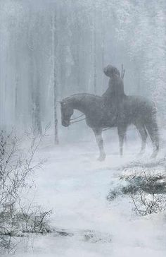 Horse - fantasy-art-engine: Rider in the Snow by Eve Ventrue High Fantasy, Medieval Fantasy, Fantasy World, Story Inspiration, Writing Inspiration, Character Inspiration, Fantasy Kunst, Fantasy Art, Fantasy Forest