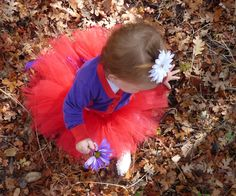 Tutu in the fall leaves.  Her first Birthday party