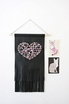 DIY: leather fringe heart tapestry