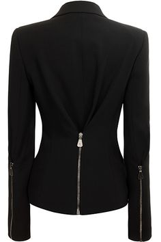 Chic tailored blazer with exposed zipper at back and on backs of sleeves. Look Fashion, Winter Fashion, Womens Fashion, Fashion Design, Tailored Jacket, Blazer Jacket, Jackett, Work Attire, Dress To Impress