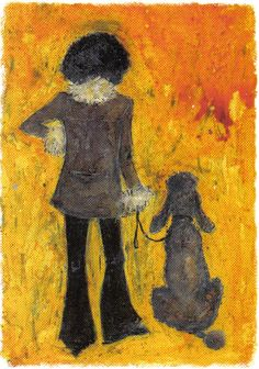 Woman with silver standard poodle--artwork.