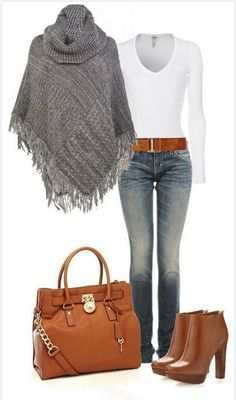 """""""Mk Boots & Large Tote, Sweater Poncho"""" by casuality.wonder if I could make this poncho Mode Outfits, Casual Outfits, Fashion Outfits, Womens Fashion, Fashion Boots, Fashion Heels, Fashion Clothes, Clothes Uk, Comfy Clothes"""