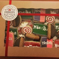 Candy Royal Icing Sugar Cookies by @cookiesbykatewi #mikeandike #reeses #nerds #hottamales