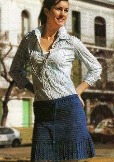 Blue Miniskirt free crochet graph pattern