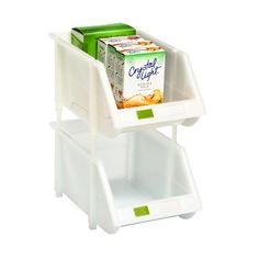 Our cleverly designed Stacking Bins feature special joiners for stacking and connecting multiples in virtually any combination!  They're perfect for use in the pantry for storing everything from packets to canned goods.  A clear label holder on the front helps you know at a glance what you have stored.