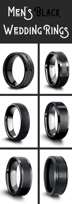 Black Wedding Ring Collection For Men - Men's Black Wedding Rings A collection of men's modern wedding rings. All black wedding rings are one of the most popular colors for men's wedding rings. These black wedding rings are either crafted out of tungsten, Modern Wedding Rings, Black Wedding Rings, Diamond Wedding Rings, Bridal Rings, Black Rings, Wedding Rings Sets His And Hers, Thin Rings, Celtic Wedding Rings, Wedding Rings Vintage