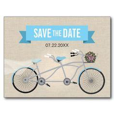 Tandem #Bicycle #Wedding Save the Date Postcards #savethedate